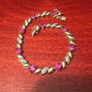 Rose gold plated pink gemstone tennis bracelet